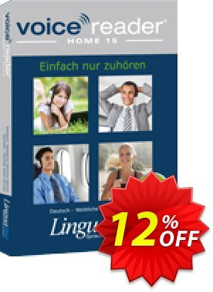 Voice Reader Home 15 Nederlands (België) - [Ellen] / Dutch (Belgium) - Female [Ellen] Coupon, discount Coupon code Voice Reader Home 15 Nederlands (België) - [Ellen] / Dutch (Belgium) - Female [Ellen]. Promotion: Voice Reader Home 15 Nederlands (België) - [Ellen] / Dutch (Belgium) - Female [Ellen] offer from Linguatec