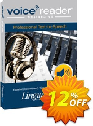 Voice Reader Studio 15 SPC / Español (Colombian)/Spanish (Colombian) Coupon, discount Coupon code Voice Reader Studio 15 SPC / Español (Colombian)/Spanish (Colombian). Promotion: Voice Reader Studio 15 SPC / Español (Colombian)/Spanish (Colombian) offer from Linguatec