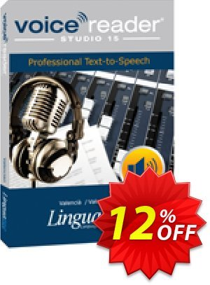 Voice Reader Studio 15 VAE / Valencià/Valencian Coupon, discount Coupon code Voice Reader Studio 15 VAE / Valencià/Valencian. Promotion: Voice Reader Studio 15 VAE / Valencià/Valencian offer from Linguatec