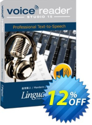 Voice Reader Studio 15 MNT / Mandarin (Taiwan) Coupon, discount Coupon code Voice Reader Studio 15 MNT / Mandarin (Taiwan). Promotion: Voice Reader Studio 15 MNT / Mandarin (Taiwan) offer from Linguatec
