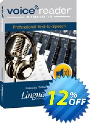 Voice Reader Studio 15 IDI / Indonesia/Indonesian Coupon, discount Coupon code Voice Reader Studio 15 IDI / Indonesia/Indonesian. Promotion: Voice Reader Studio 15 IDI / Indonesia/Indonesian offer from Linguatec