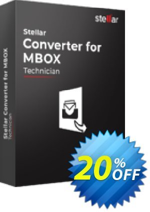 Stellar MBOX to PST Converter offer (Technical) Coupon, discount Stellar Converter for MBOX – Tech awful promotions code 2020. Promotion: NVC Exclusive Coupon