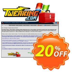 Tweaking.com Windows Repair Pro v4 Coupon discount Tweaking.com - Windows Repair 2020 Pro v4 - 1 PC License awful promo code 2020. Promotion: awful promo code of Tweaking.com - Windows Repair 2020 Pro v4 - 1 PC License 2020