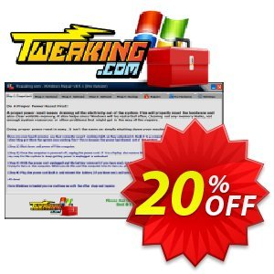 Tweaking.com Windows Repair Pro v4 (1 PC License) Coupon, discount Tweaking.com - Windows Repair 2021 Pro v4 - 1 Additional License awesome discount code 2021. Promotion: tweaking.com discount coupon (55791)