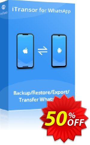 iTransor for WhatsApp (10 Devices/Lifetime) Coupon discount 50% OFF iTransor for WhatsApp (10 Devices/Lifetime), verified. Promotion: Awful offer code of iTransor for WhatsApp (10 Devices/Lifetime), tested & approved