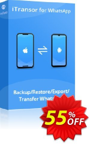 iTransor for WhatsApp (15 Devices/Lifetime) Coupon, discount 55% OFF iTransor for WhatsApp (15 Devices/Lifetime), verified. Promotion: Awful offer code of iTransor for WhatsApp (15 Devices/Lifetime), tested & approved