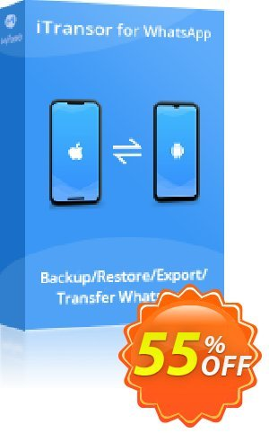 iTransor for WhatsApp (20 Devices/Lifetime) discount coupon 55% OFF iTransor for WhatsApp (20 Devices/Lifetime), verified - Awful offer code of iTransor for WhatsApp (20 Devices/Lifetime), tested & approved