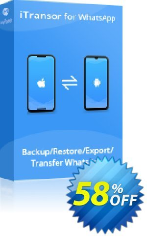 iTransor for WhatsApp Mac Version (1-Month) 프로모션 코드 58% OFF iTransor for WhatsApp Mac Version (1-Month), verified 프로모션: Awful offer code of iTransor for WhatsApp Mac Version (1-Month), tested & approved