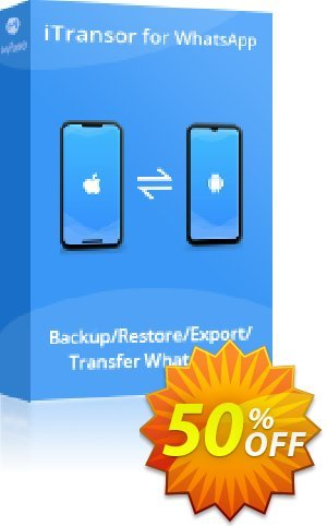 iTransor for WhatsApp Mac Version (10 Devices/Lifetime) Coupon discount 50% OFF iTransor for WhatsApp Mac Version (10 Devices/Lifetime), verified. Promotion: Awful offer code of iTransor for WhatsApp Mac Version (10 Devices/Lifetime), tested & approved