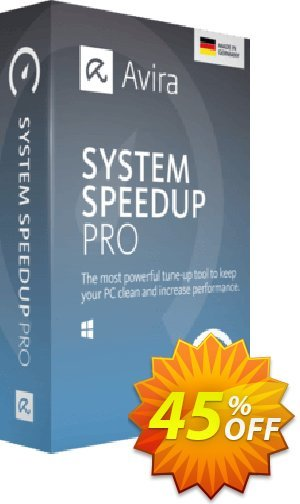 Avira System Speedup Pro (1 year) Coupon, discount 45% OFF Avira System Speedup Pro (1 year), verified. Promotion: Fearsome promotions code of Avira System Speedup Pro (1 year), tested & approved