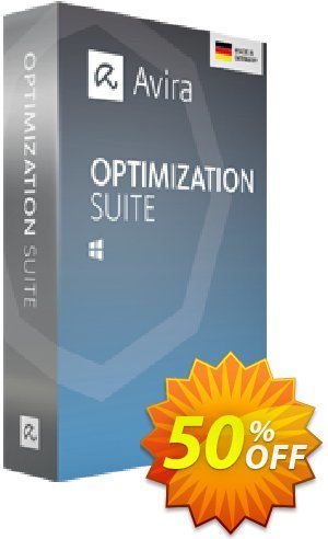 Avira Optimization Suite (3 years) Coupon, discount 50% OFF Avira Optimization Suite (3 years), verified. Promotion: Fearsome promotions code of Avira Optimization Suite (3 years), tested & approved
