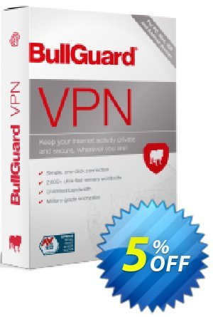 BullGuard VPN 1 month plan Coupon, discount 5% OFF BullGuard VPN 1 month plan, verified. Promotion: Awesome promo code of BullGuard VPN 1 month plan, tested & approved