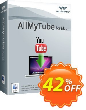 Wondershare AllMyTube for Mac Coupon discount 30% OFF on Allmytube for Cnet - 20% OFF on all Feature Products