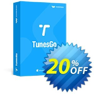 Wondershare TunesGo Coupon discount 30% Wondershare TunesGo (8799). Promotion: 30% Main coupon for all TunesGo. Tunesgo for Windows, iOS