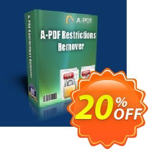 A-PDF Restrictions Remover Coupon, discount 20% IVS and A-PDF. Promotion: 45% Off For 40 licenses of A-PDF