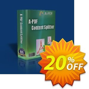 A-PDF Content Splitter Coupon, discount 20% IVS and A-PDF. Promotion: 20% IVS and A-PDF