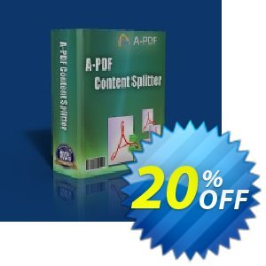 A-PDF Split offering sales A-PDF Coupon (9891). Promotion: 20% IVS and A-PDF