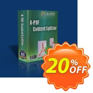 A-PDF Content Splitter Service Coupon, discount 20% IVS and A-PDF. Promotion: 20% IVS and A-PDF