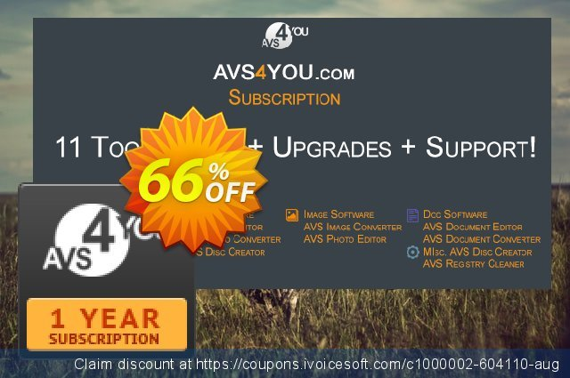 AVS4YOU One Year Subscription Screenshot