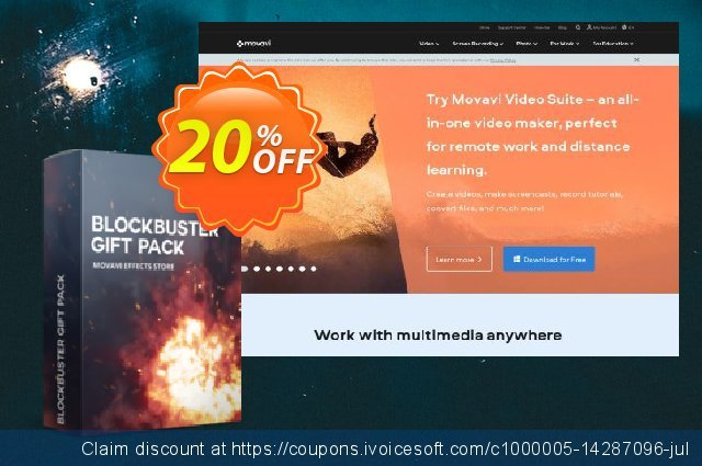 Movavi effect Blockbuster Gift Pack discount 20% OFF, 2021 Columbus Day discount. Blockbuster Gift Pack formidable offer code 2021