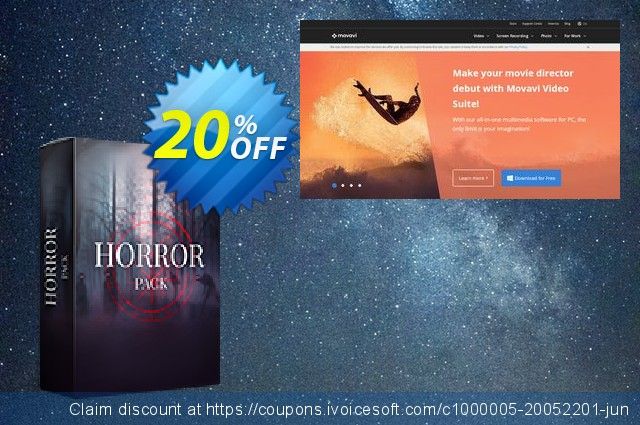 Movavi effect Horror Pack discount 20% OFF, 2020 University Student deals offering sales