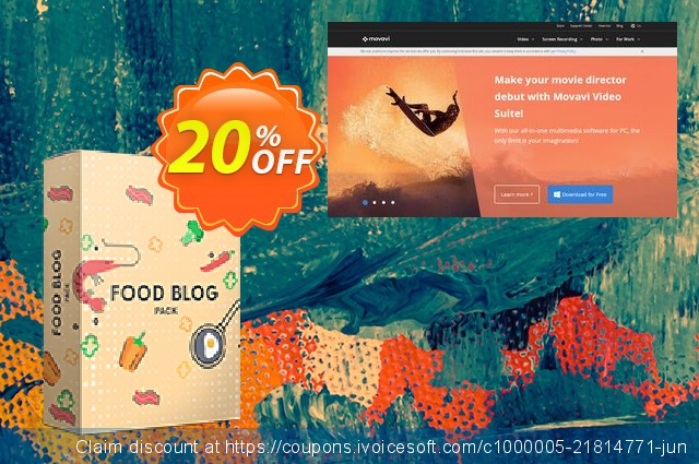 Movavi effect Food blog Pack discount 20% OFF, 2019 Fourth of July promo