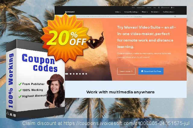 Movavi Bundle: Video Suite + Photo Editor + Effects discount 20% OFF, 2020 College Student deals offering sales