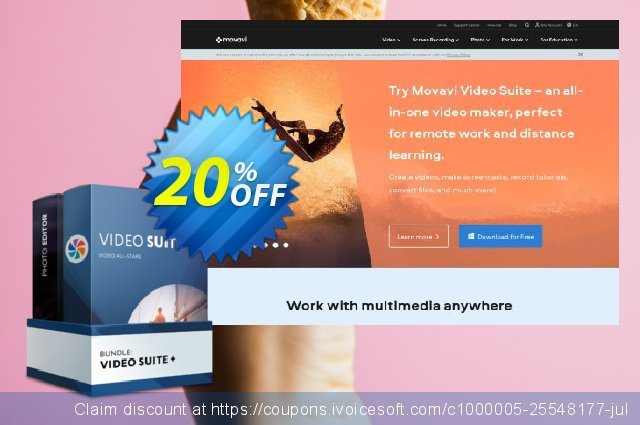 Movavi Business Bundle: Video Suite + Photo Editor discount 20% OFF, 2020 College Student deals offering sales