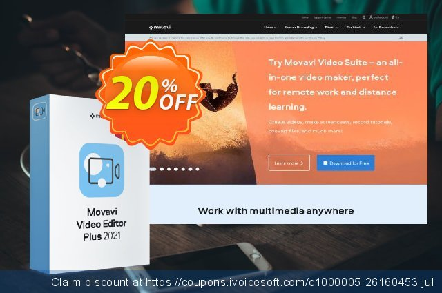 Bundle: Movavi Video Editor Plus + Gift Pack discount 20% OFF, 2020 College Student deals offering sales