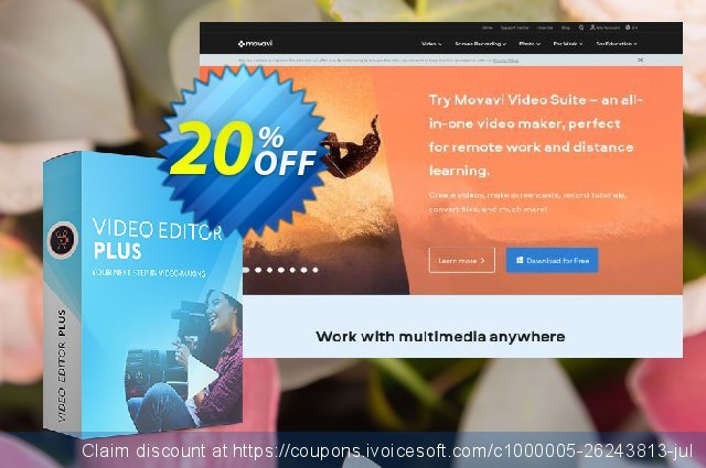 Bundle: Movavi Video Editor Plus for Mac + Gift Pack discount 20% OFF, 2020 Back to School coupons promotions