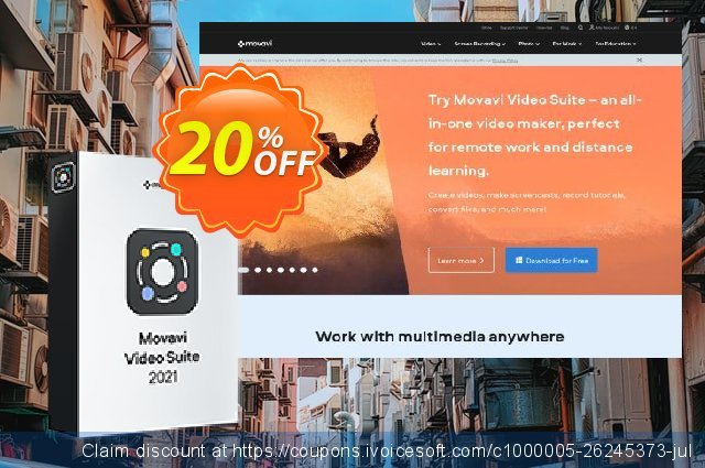 Movavi Bundle: Video Suite + Premium Support discount 20% OFF, 2020 University Student deals offer
