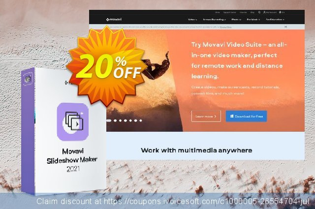 Bundle: Movavi Slideshow Maker + Gift Pack discount 20% OFF, 2020 Teacher deals offering sales