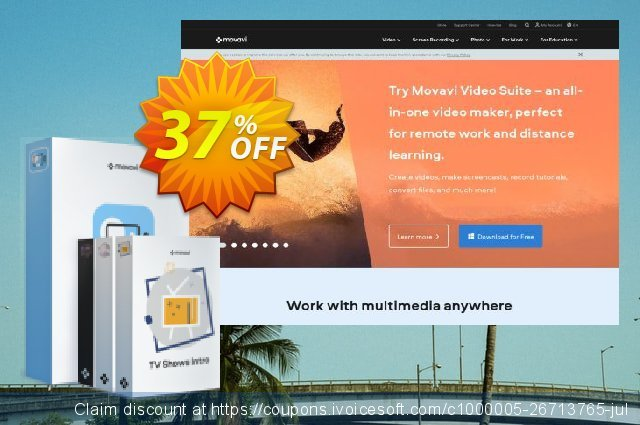 Movavi Video Editor Plus + Super Intro Bundle discount 20% OFF, 2020 Back to School promo offering deals