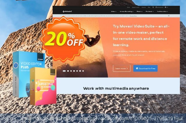 Movavi Video Editor Plus + Lifestyle Blogger Pack discount 20% OFF, 2020 Back to School shopping promo sales