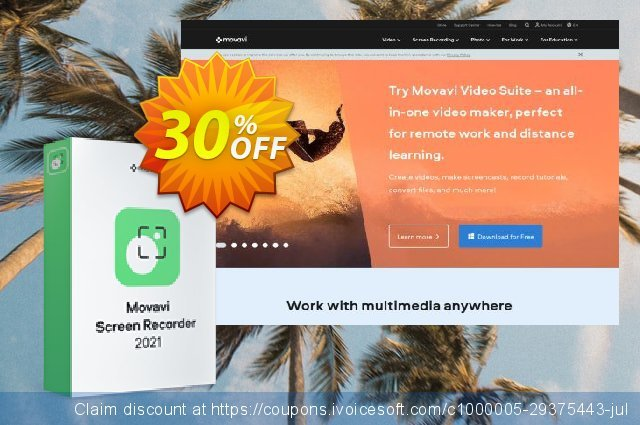 Movavi Screen Recorder for Mac (1 year) discount 20% OFF, 2020 University Student offer offering sales