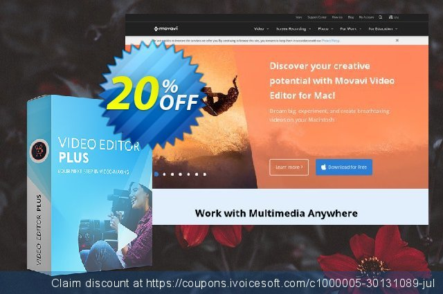 Movavi Video Editor Plus for Mac - Business 1 year discount 20% OFF, 2020 College Student deals offering sales