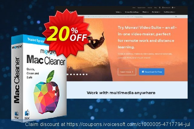 Movavi Mac Cleaner (Business license) discount 20% OFF, 2020 Back-to-School promotions promotions