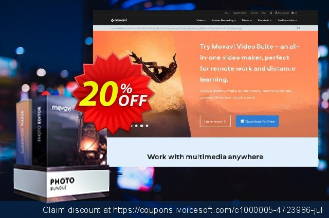 Movavi Photo Bundle: Photo Editor + Slideshow Maker discount 20% OFF, 2020 Back to School promotion offering sales