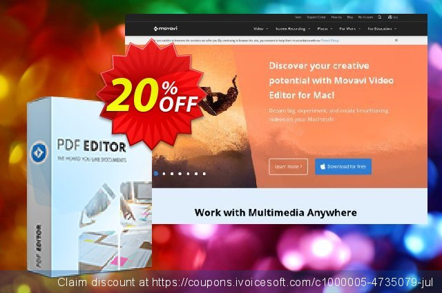Movavi PDF Editor – Monthly Subcription discount 20% OFF, 2020 Back to School shopping offering sales