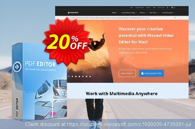 Movavi PDF Editor (1 year) discount 43% OFF, 2020 Back to School coupons offering sales