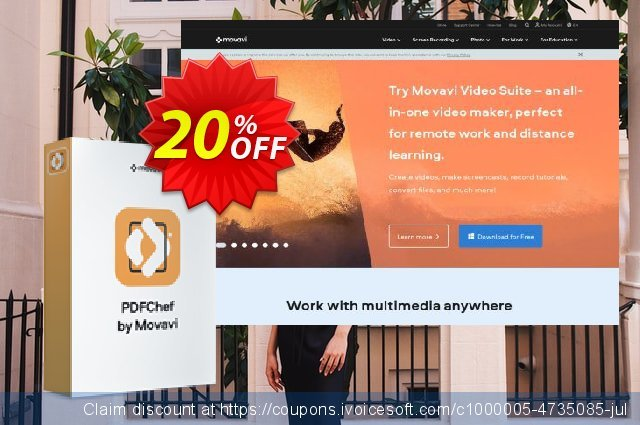 Business Bundle: Movavi PDF Editor + Screen Capture Pro discount 20% OFF, 2020 Exclusive Student discount sales