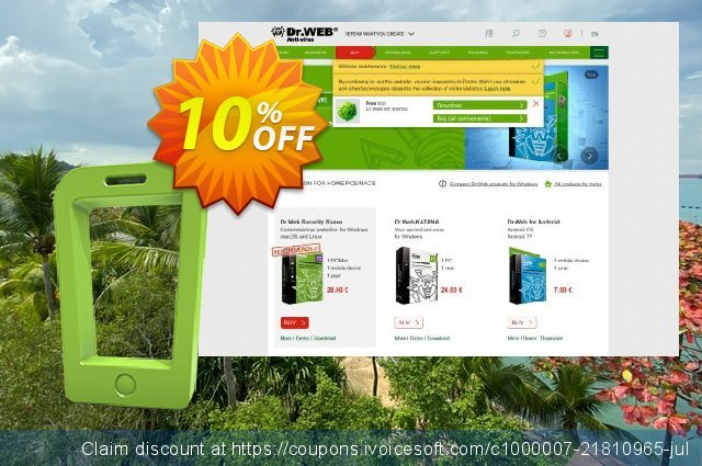 Dr.Web Mobile Life discount 10% OFF, 2020 American Independence Day discounts