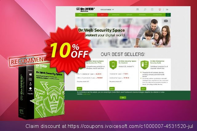 Dr.Web Security Space (License renewal) discount 10% OFF, 2021 National Savings Day offering sales. Home products (Dr.Web Security Space), License renewal super deals code 2021