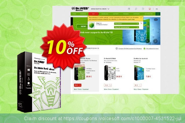 Dr.Web Anti-Virus discount 10% OFF, 2020 Halloween offering sales