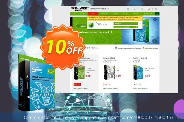 Dr.Web for Android - 3 years discount 10% OFF, 2020 Spring promotions
