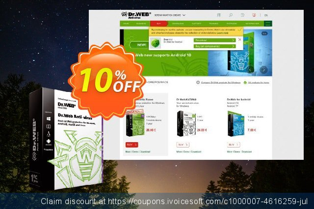 Dr.Web Anti-Virus discount (without support) discount 10% OFF, 2020 Spring discount
