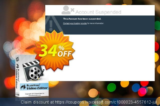 BlazeVideo Video Editor discount 34% OFF, 2020 Back to School promotion offering sales