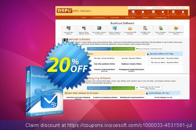 DRPU Bulk SMS Software for BlackBerry discount 20% OFF, 2019 Back to School shopping offering deals