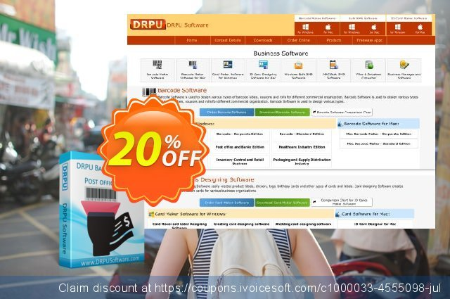DRPU Post Office and Bank Barcode Label Maker Software discount 20% OFF, 2020 Back to School promotion deals