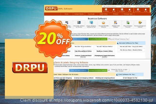 Business Card Maker Software - 2 PC License discount 20% OFF, 2020 January promo